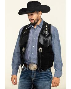 Scully Men's Leather Fringe Vest, Black, hi-res