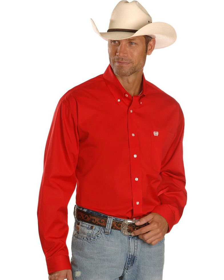 Cinch Men's Long Sleeve Solid Western Shirt, Red, hi-res