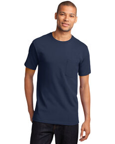 Port & Company Men's Navy Essential Solid Pocket Short Sleeve Work T-Shirt - Tall , Navy, hi-res