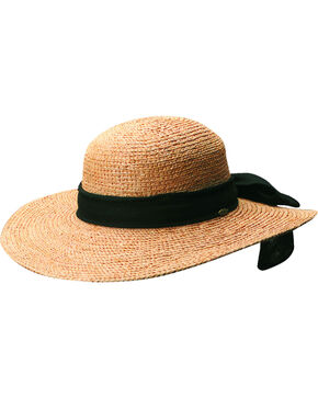 Scala Women's Tea Organic Raffia with Black Bow Sun Hat, Tea, hi-res