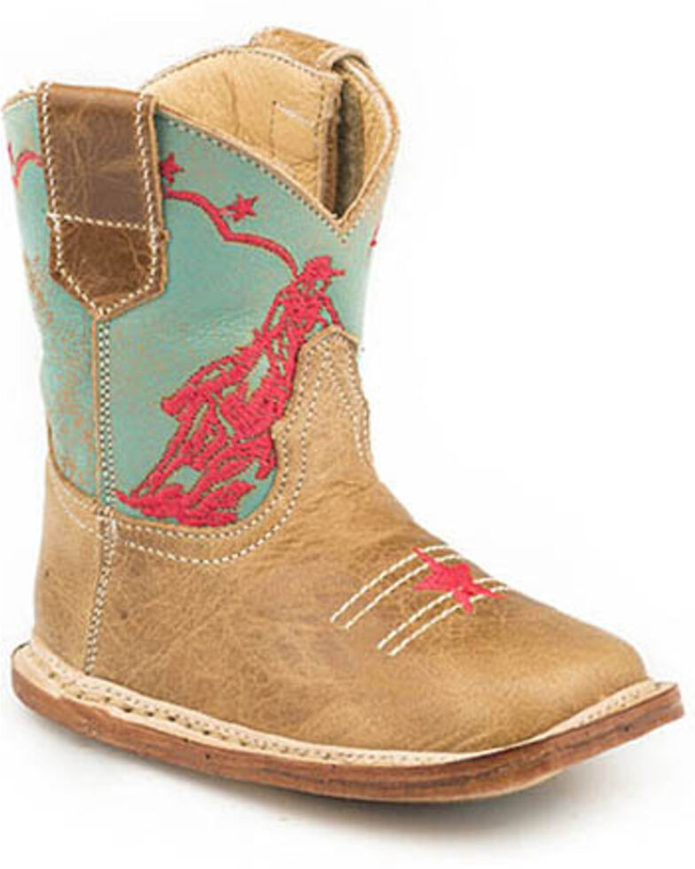 Roper Youth Girls' Rodeo Embroidery Western Boots - Square Toe, Purple, hi-res