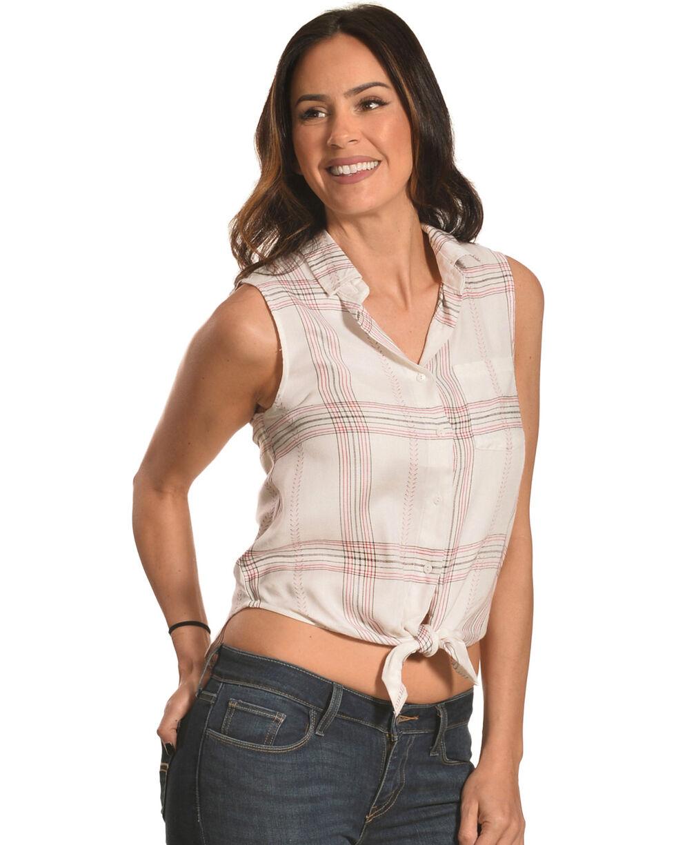 White Crow Women's Plaid Tie-Front Button Down Shirt, White, hi-res