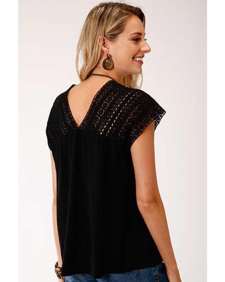 Studio West Women's Black Crochet Lace Top, Black, hi-res