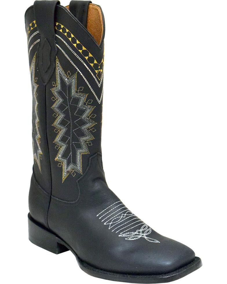 Ferrini Men's Navajo Western Boots - Square Toe , Black, hi-res