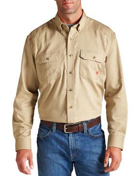 Ariat Men's Woven Solid Print Fire Resistant Work Shirt, Khaki, hi-res