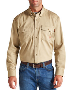 Ariat Men's Woven Solid Print Fire Resistant Work Shirt, Khaki, hi-res