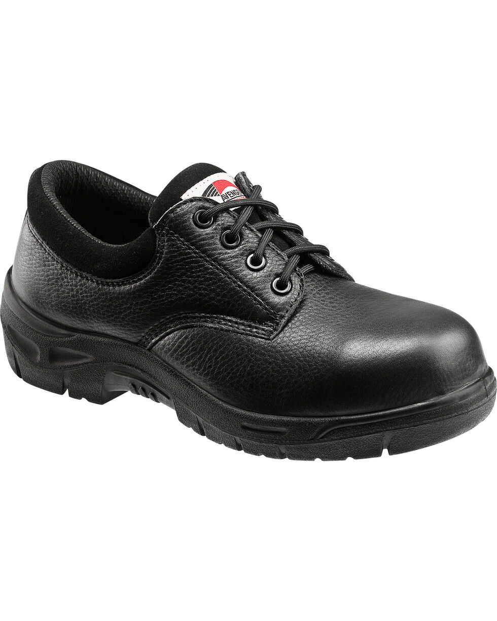 Avenger Men's Black Oxford Work Shoes - Composite Toe , Black, hi-res