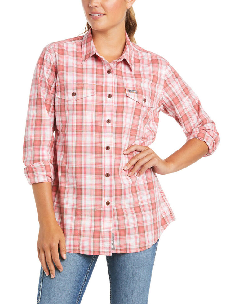 Ariat Women's Calypso Plaid Rebar Made Tough Durastretch Long Sleeve Button-Down Work Shirt , Red, hi-res