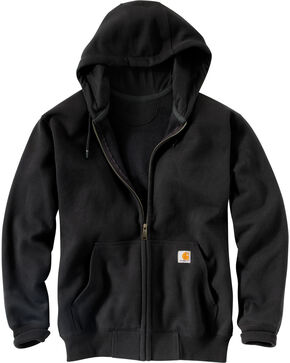 Carhartt Rain Defender Paxton Heavyweight Zip Front Hoodie, Black, hi-res