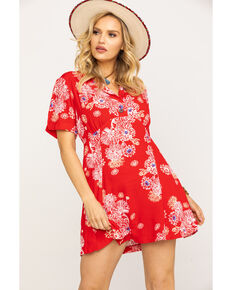 Free People Women's Blue Hawaii Mini Dress, Red, hi-res
