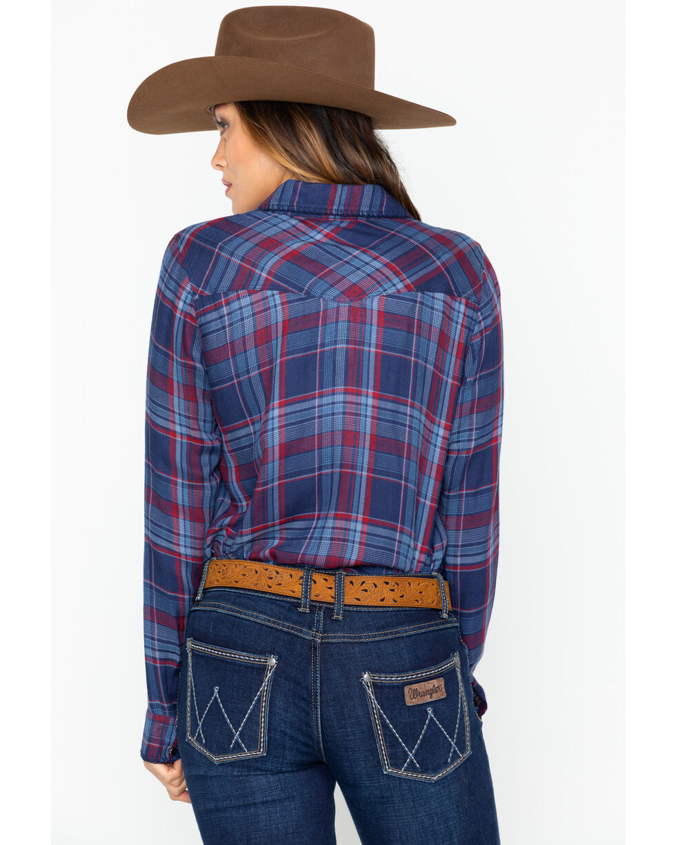 Ivory Love Plaid Whipstitch Western Shirt, Blue/red, hi-res