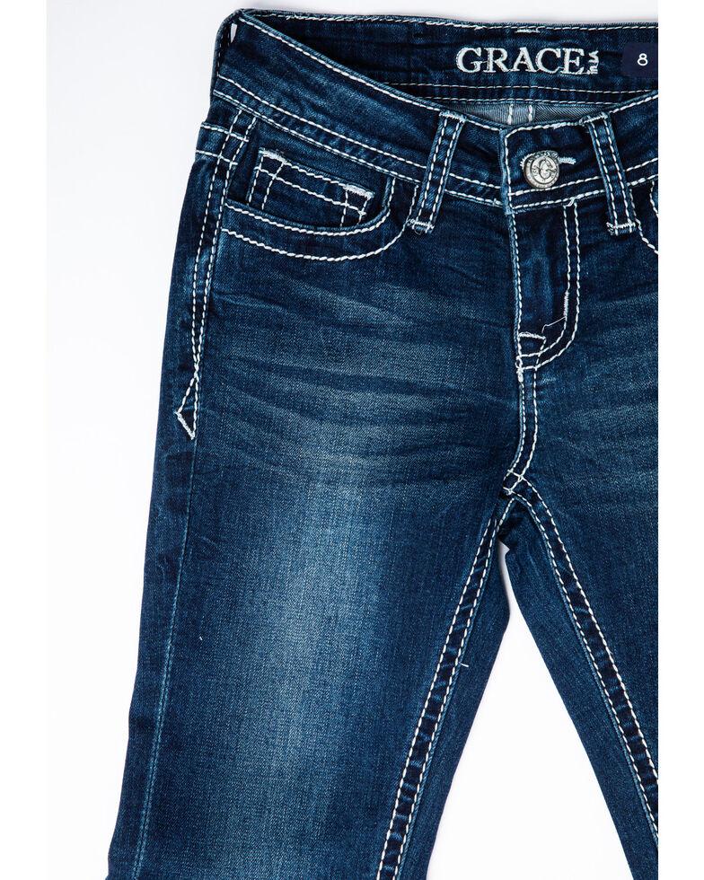 Grace in LA Girls' Medium Embellished Cross Bootcut Jeans, Blue, hi-res