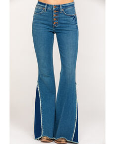 Wrangler Women's Modern High Rise Button Flare Jeans , Blue, hi-res