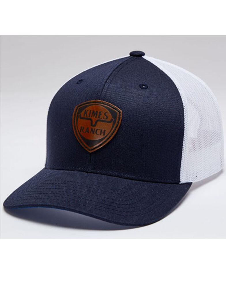 Kimes Ranch Men's Navy Leather Point Logo Mesh-Back Trucker Cap , Navy, hi-res