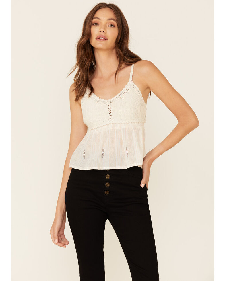 Shyanne Women's Off White Crochet Cami , Off White, hi-res