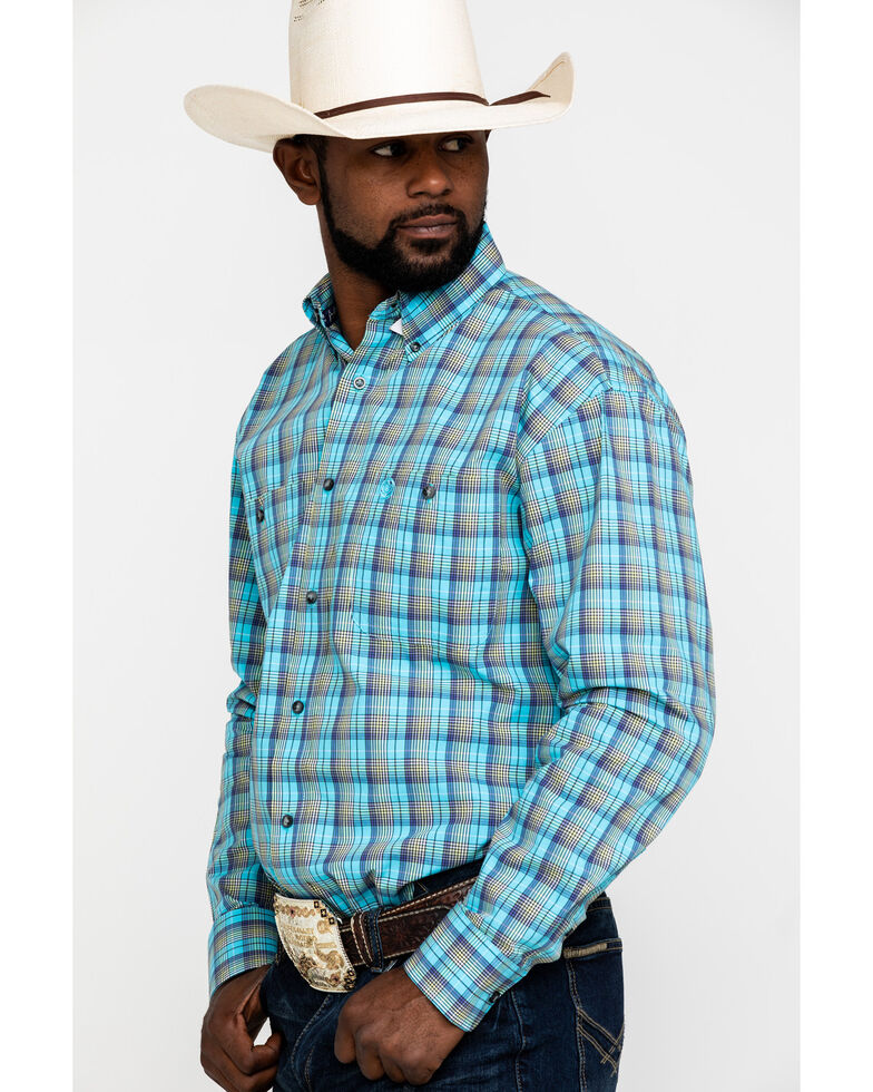 George Strait by Wrangler Men's Light Turquoise Plaid Long Sleeve Western Shirt - Big , Turquoise, hi-res