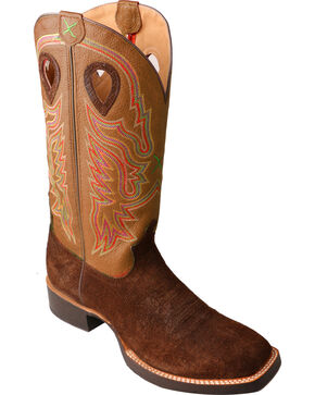 Twisted X Men's Embroidered Western Boots, Chocolate, hi-res