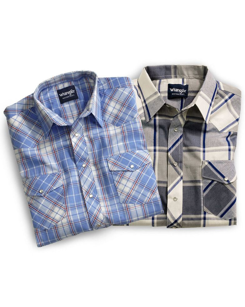 Wrangler Assorted Striped or Plaid Long Sleeve Classic Western Shirt - Big & Tall, Stripe, hi-res