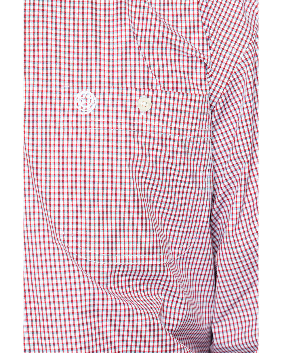George Strait by Wrangler Men's Mini Check Plaid Long Sleeve Shirt - Big & Tall , Red, hi-res