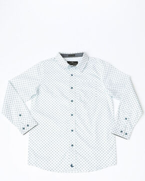 Cody James Boys' Horseshoe Geo Plaid Long Sleeve Western Shirt , White, hi-res