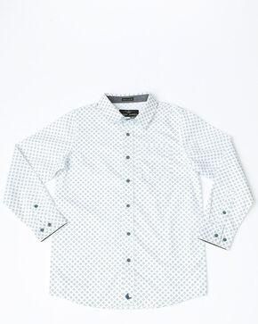 Cody James Boys' Horseshoe Geo Plaid Long Sleeve Western Shirt , White, hi-res