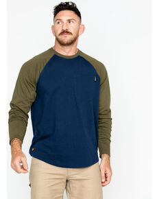 Hawx® Men's Solid Long Sleeve Baseball Raglan Crew Work Shirt , Navy, hi-res
