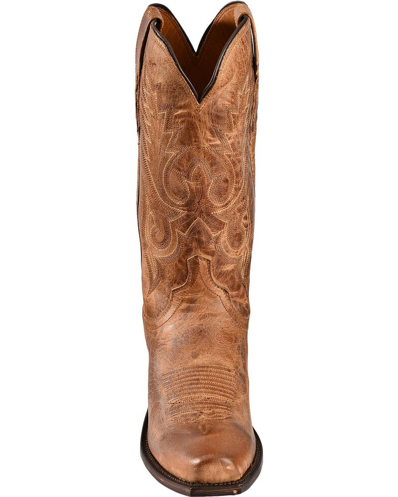 Lucchese Men's Handmade 1883 Mad Dog Goatskin Cowboy Boots - Square Toe, Tan, hi-res