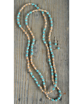 Shyanne Women's Turquoise and Orange Beaded Jewelry Set, Turquoise, hi-res
