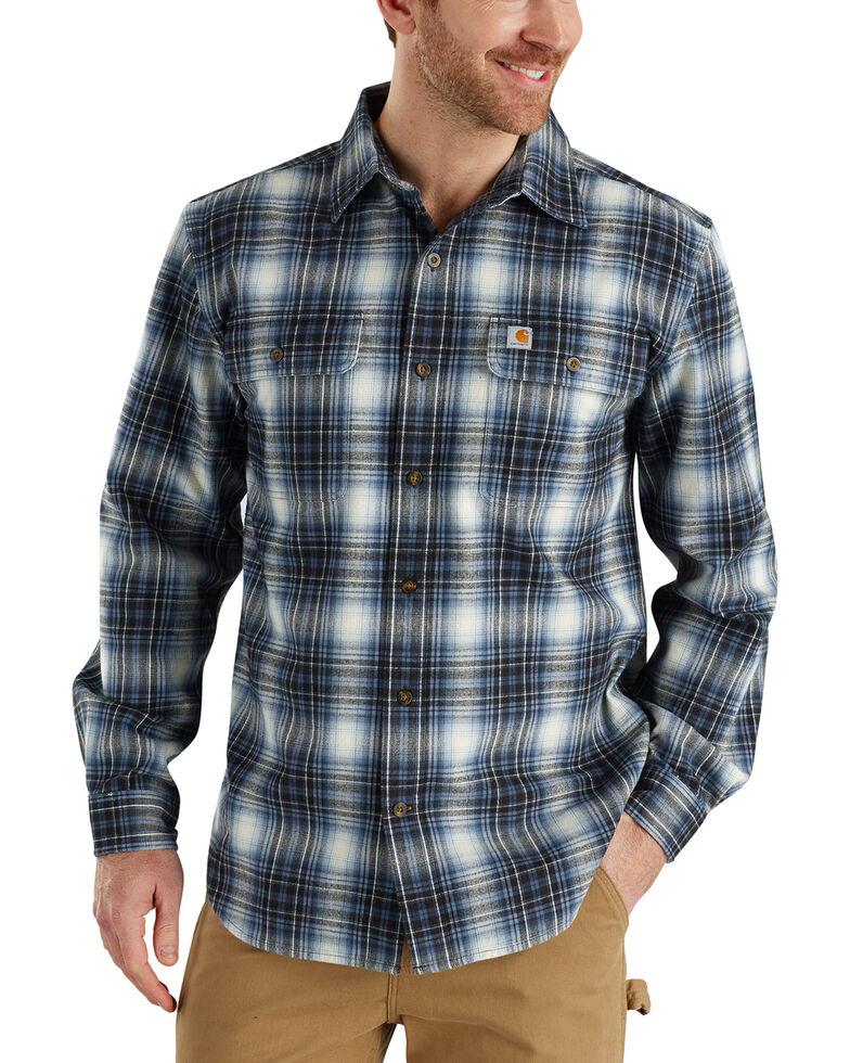 Carhartt Men's Hubbard Long Sleeve Plaid  Flannel Work Shirt - Big & Tall, Dark Blue, hi-res
