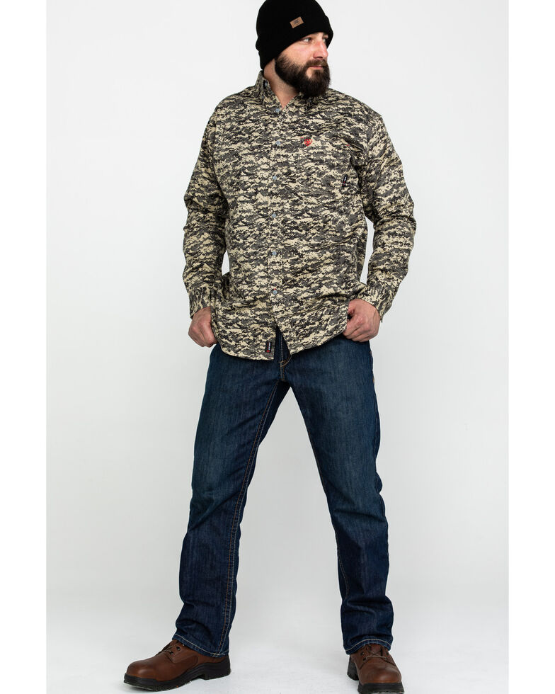 Ariat Men's FR Patriot Camo Long Sleeve Work Shirt - Tall , Camouflage, hi-res