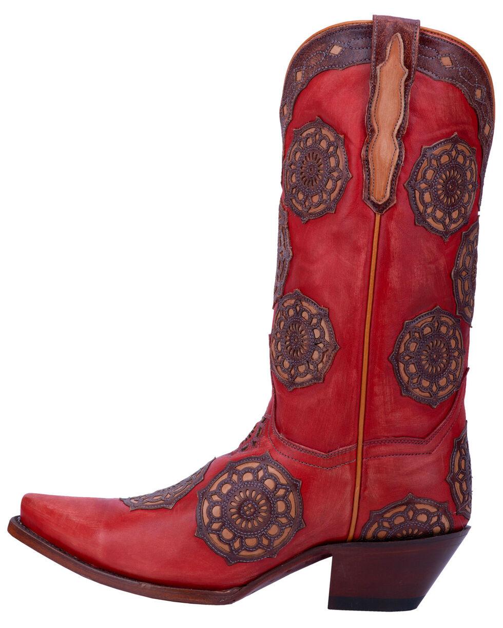 Dan Post Women's Circus Flower Western Boots - Snip Toe, Red, hi-res
