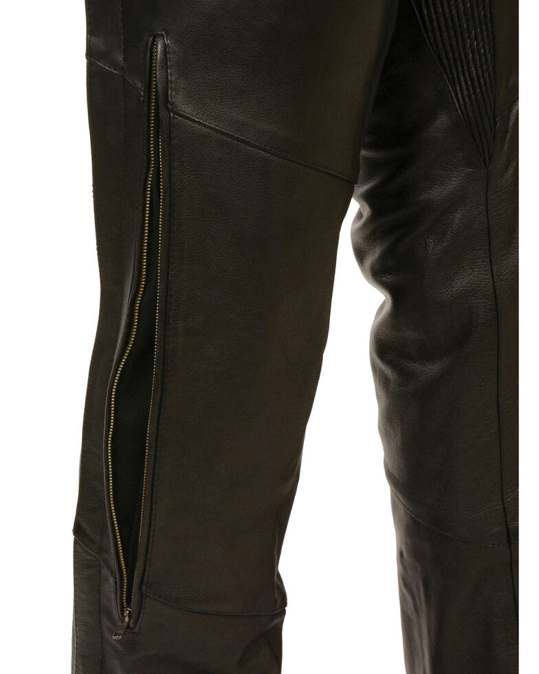 Milwaukee Leather Men's Stretch Thigh Vented Chaps, Black, hi-res