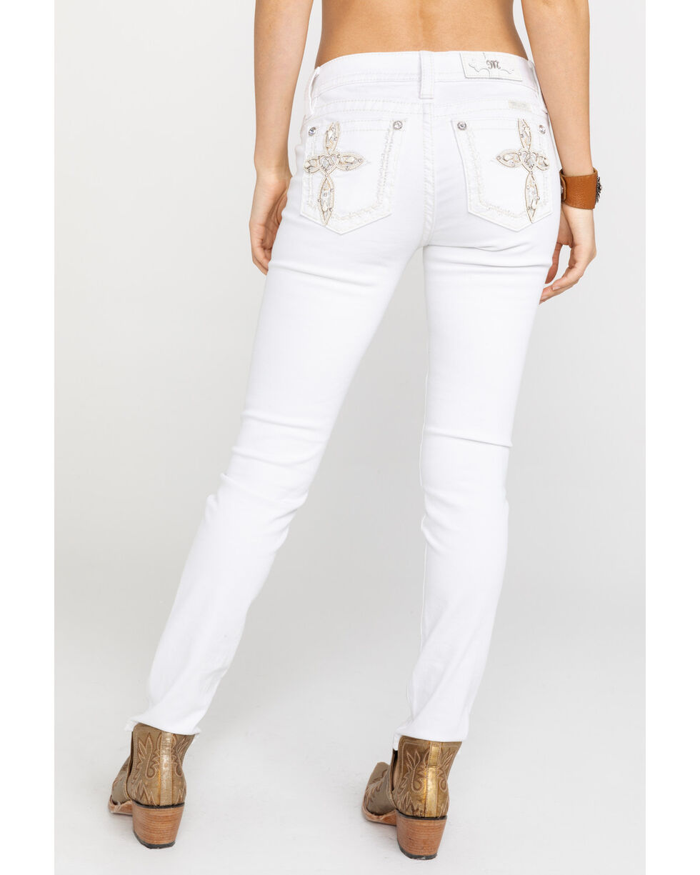Miss Me Women's Cross Embroidered Open Pocket Skinny Jeans, White, hi-res