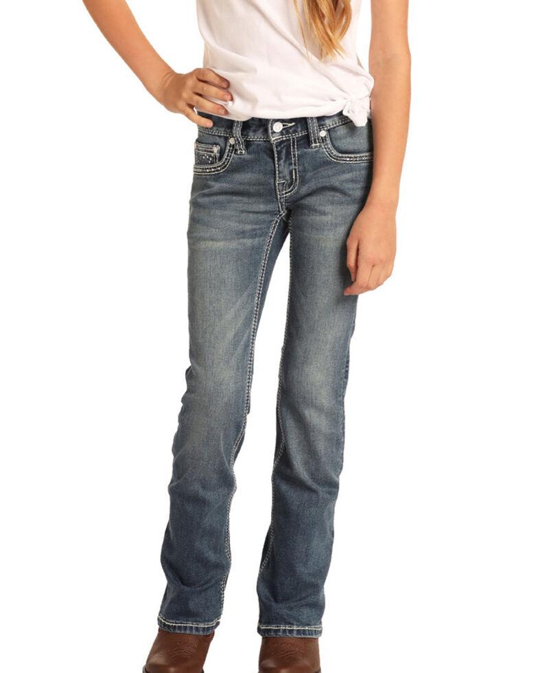 Rock & Roll Cowgirl Girls' Medium Scroll Bootcut Jeans, Blue, hi-res