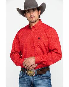 Cinch Men's Pattern Long Sleeve Shirt, Red, hi-res