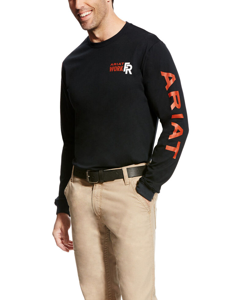 Ariat Men's Black FR Logo Crew Neck Long Sleeve Shirt - Big & Tall, Black, hi-res