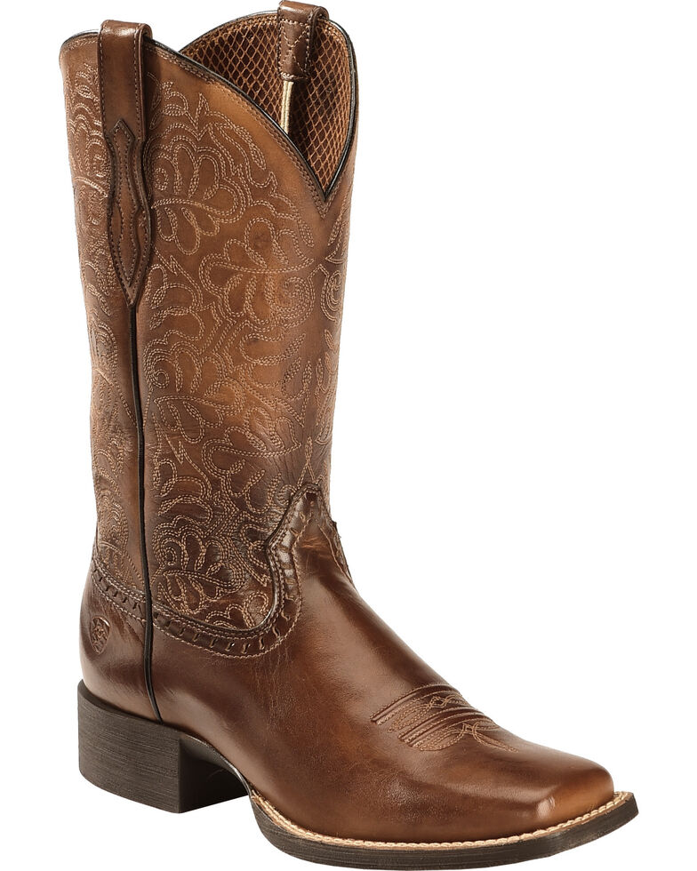 Ariat Women's Rich Brown Round Up Remuda Cowgirl Boots - Square Toe , Brown, hi-res