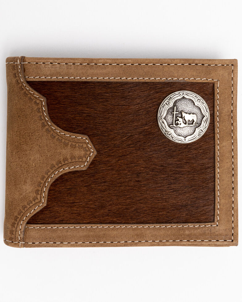 Cody James Men's Hair On Praying Cowboy Bi-Fold Leather Wallet , Brown, hi-res