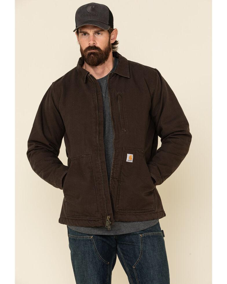 Carhartt Men's Dark Brown Washed Duck Sherpa Lined Work Coat , Brown, hi-res