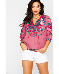 Johnny Was Women's Annaliese Boxy Peasant Blouse , Mauve, hi-res