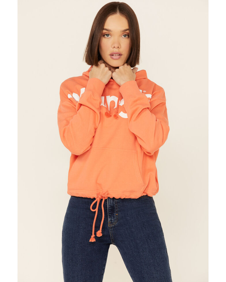 Wrangler Women's Cinch Waist Logo Graphic Crop Hoodie, Coral, hi-res