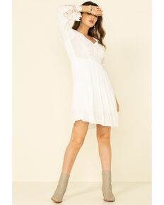 Joseph Studio Women's White Embroidered Bell Sleeve Dress , White, hi-res