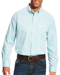 Ariat Men's Pro Series Maximillion Print Long Sleeve Button Down Shirt, Light Blue, hi-res