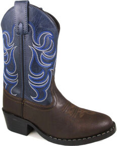 Smoky Mountain Boys' Monterey Western Boot - Round Toe, Brown, hi-res