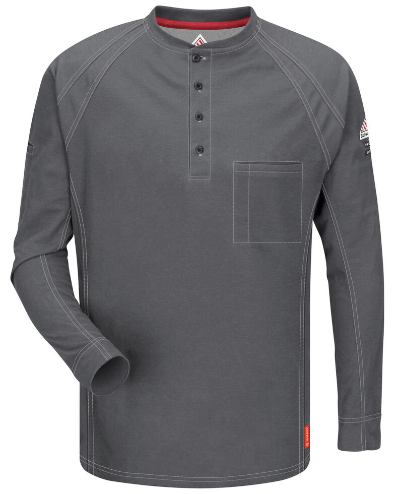 Bulwark Men's Grey iQ Series Flame Resistant Henley Work Shirt - Big & Tall, Charcoal Grey, hi-res