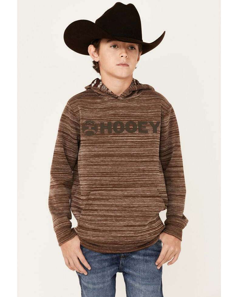 HOOEY Boys' Brown Stripe And Aztec Hooded Sweatshirt, Brown, hi-res