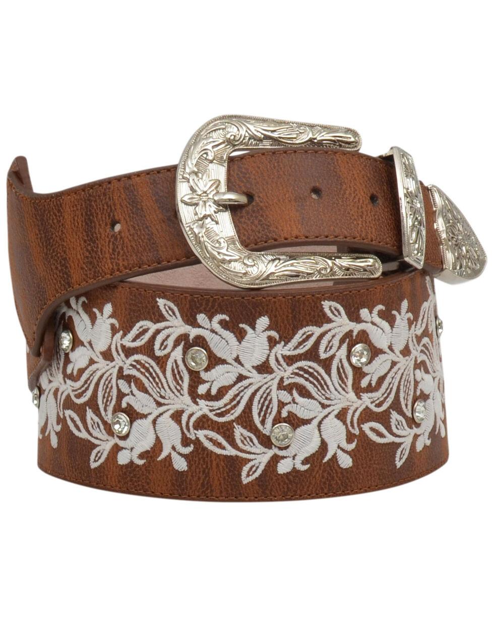 Angel Ranch Women's Embroidered Floral Belt, Brown, hi-res