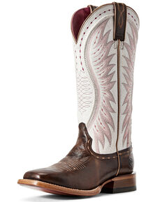 Ariat Women's Vaquera Mustang Western Boots - Wide Square Toe, Brown, hi-res