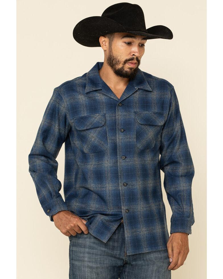 Pendleton Men's Navy Board Large Plaid Long Sleeve Western Shirt , Navy, hi-res