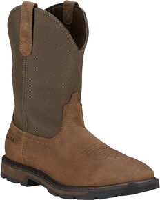 Ariat Men's Groundbreaker Western Work Boots - Square Toe, Brown, hi-res